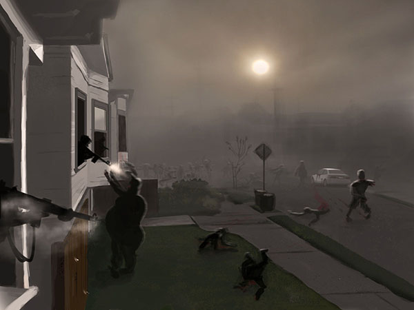 Concept art from Binary Space's upcoming Flash Zombie Game