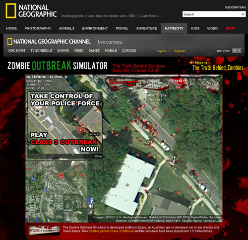 Zombie Outbreak Simulator on National Geographic