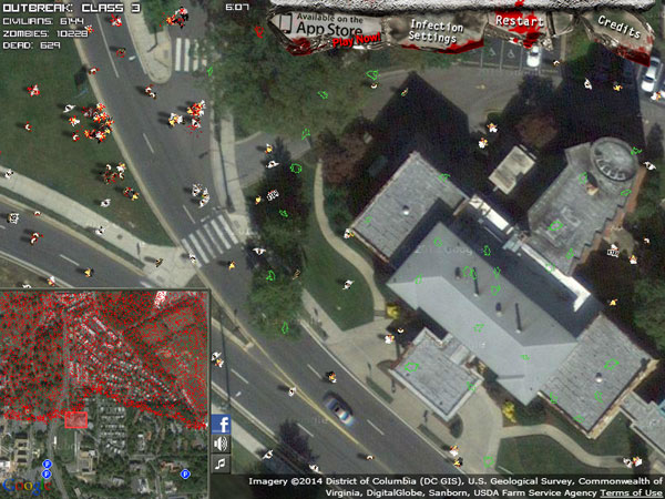 Classic Zombie Outbreak Simulator on the Washington map
