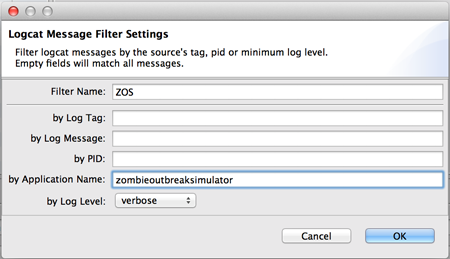Android SDK monitor app LogCat filter settings