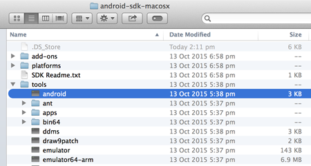 SDK Manager location on a Mac
