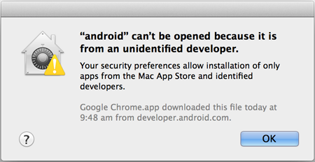 Android SDK Manager open error on Mac