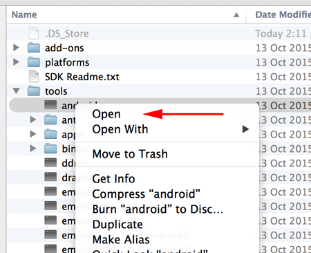 Android SDK Manager right-click on Mac
